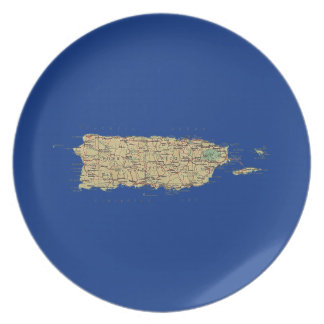 Puerto Rico Map Plate