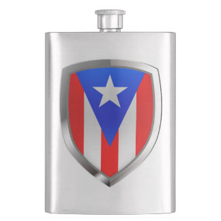 Puerto Rico Metallic Emblem Hip Flask