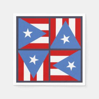 Puerto Rico Party Theme: Bold Flag Square Pattern Disposable Serviette