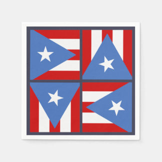 Puerto Rico Party Theme: Bold Flag Square Pattern Disposable Serviettes