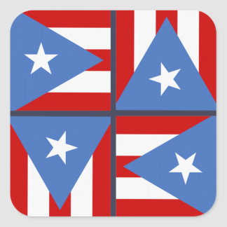 Puerto Rico Party Theme: Bold Flag Square Pattern Square Sticker