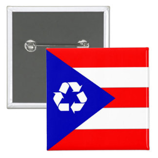 Puerto Rico recycle flag 15 Cm Square Badge