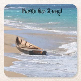 """Puerto Rico strong"" coasters beach boat scene"