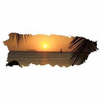 Puerto Rico Sunset Cutout Keychain Photo Sculpture Key Ring