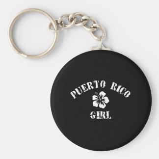 Puerto Rico Tattoo Style Basic Round Button Key Ring
