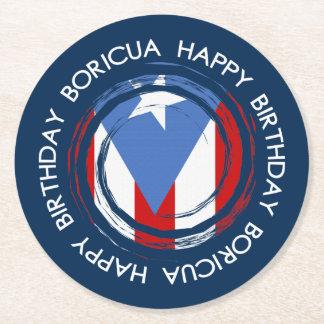 Puerto Rico Theme Birthday Round Paper Coaster