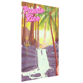 Puerto Rico Tropical Palm travel poster Canvas Print
