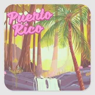 Puerto Rico Tropical Palm travel poster Square Sticker