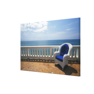 Puerto Rico. Wicker chair and tiled terrace at Canvas Prints