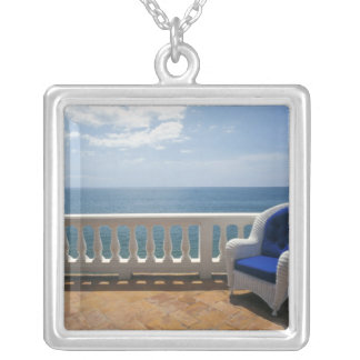 Puerto Rico. Wicker chair and tiled terrace at Square Pendant Necklace