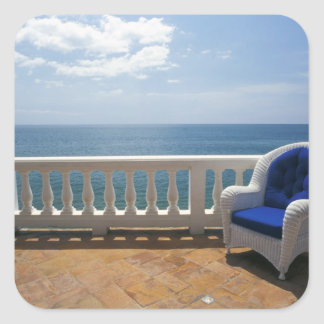 Puerto Rico. Wicker chair and tiled terrace at Square Sticker