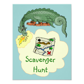 Puff Dragon & Scavenger Hunt Map Invitations