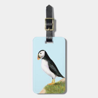 Puffin Bird Watercolour Painting Print fratercula Luggage Tag