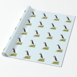 Puffin Bird Watercolour Painting Print fratercula Wrapping Paper