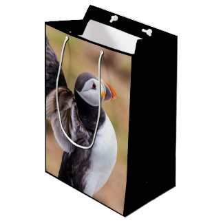 Puffin bird with fish medium gift bag