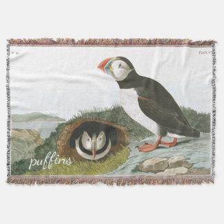 Puffin Birds Audubon Wildlife Throw Blanket