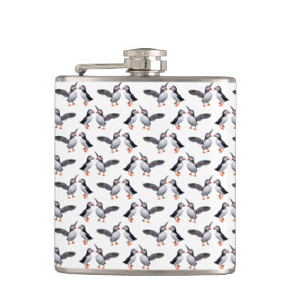 Puffin Frenzy Hip Flask (choose colour)