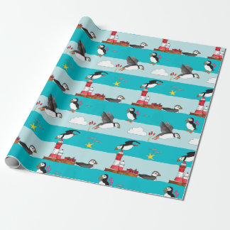 Puffin Lighthouse Wrapping Paper