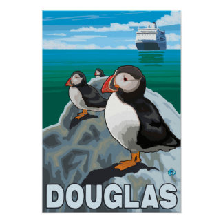 Puffins & Cruise Ship - Douglas, Alaska Print