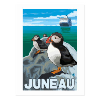 Puffins & Cruise Ship - Juneau, Alaska Postcard