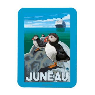 Puffins & Cruise Ship - Juneau, Alaska Rectangular Photo Magnet