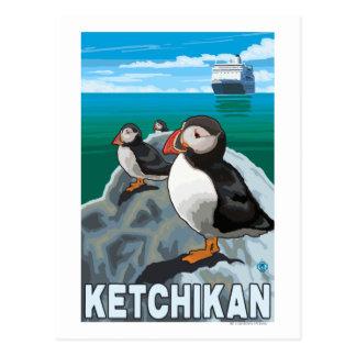 Puffins & Cruise Ship - Ketchikan, Alaska Postcard