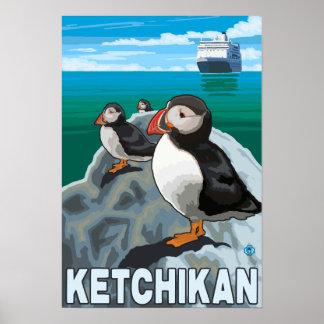 Puffins Cruise Ship - Ketchikan Alaska Poster