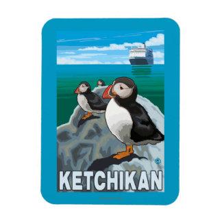 Puffins & Cruise Ship - Ketchikan, Alaska Rectangular Photo Magnet