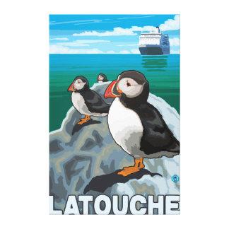 Puffins & Cruise Ship - Latouche, Alaska Canvas Prints