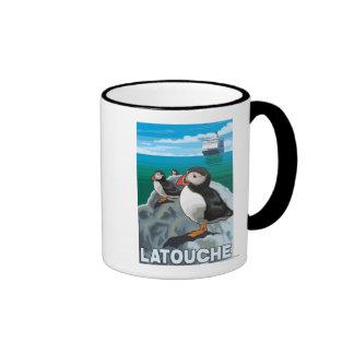 Puffins & Cruise Ship - Latouche, Alaska Mugs