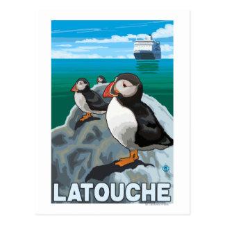 Puffins & Cruise Ship - Latouche, Alaska Postcard
