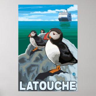 Puffins & Cruise Ship - Latouche, Alaska Posters