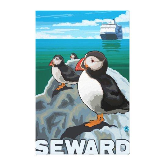 Puffins & Cruise Ship - Seward, Alaska Canvas Print