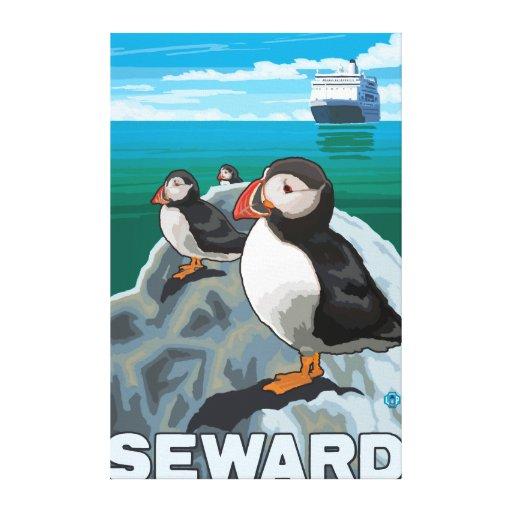 Puffins & Cruise Ship - Seward, Alaska Gallery Wrapped Canvas