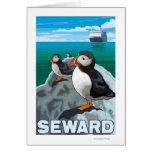 Puffins & Cruise Ship - Seward, Alaska Greeting Card