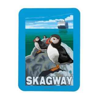 Puffins & Cruise Ship - Skagway, Alaska Rectangular Photo Magnet