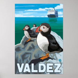 Puffins Cruise Ship - Valdez Alaska Poster