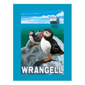 Puffins & Cruise Ship - Wrangell, Alaska Postcard