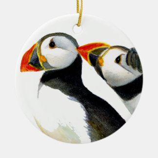 Puffins Seabirds in Watercolour Paints Artwork Ceramic Ornament