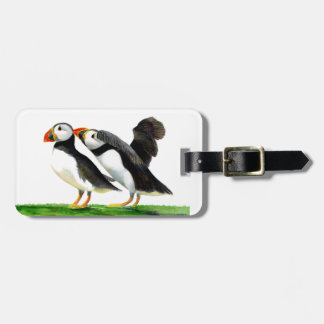 Puffins Seabirds in Watercolour Paints Artwork Luggage Tag