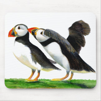 Puffins Seabirds in Watercolour Paints Artwork Mouse Pad