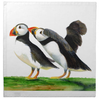 Puffins Seabirds in Watercolour Paints Artwork Napkin