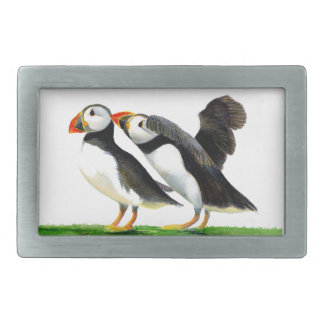 Puffins Seabirds in Watercolour Paints Artwork Rectangular Belt Buckle