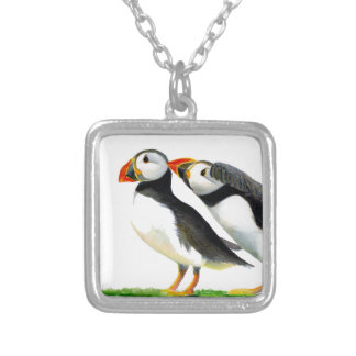 Puffins Seabirds in Watercolour Paints Artwork Silver Plated Necklace