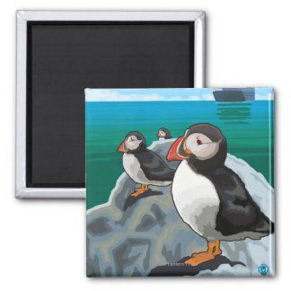 Puffins watching a Cruise Ship Magnets