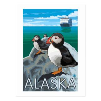 Puffins watching a Cruise Ship Postcard