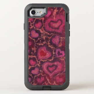 Puffy hearts, romantic love, pink red & burgundy OtterBox defender iPhone 7 case