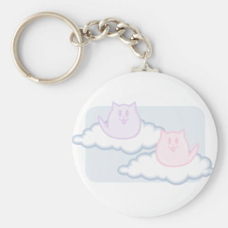 Puffy kittens on clouds basic round button key ring