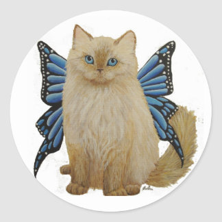 Puffy, the Butterfly Fairy cat Classic Round Sticker