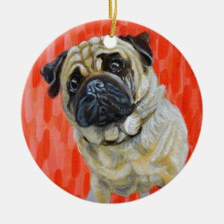 Pug 0range ceramic ornament